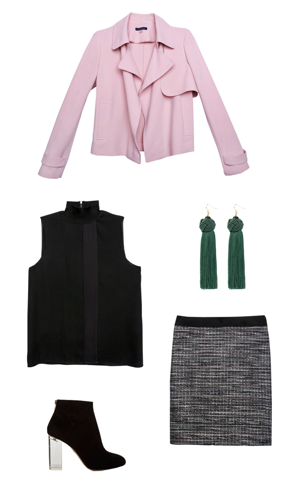 grayd-pencil-skirt-black-top-pink-light-jacket-moto-spring-summer-knit-crop-boxy-black-shoe-booties-earrings-work.jpg