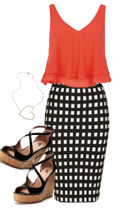 black-pencil-skirt-orange-cami-print-howtowear-style-fashion-spring-summer-black-shoe-sandalw-gingham-wedgesandals-dinner.jpg