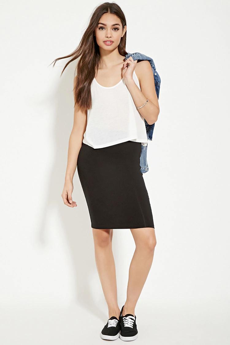 black-pencil-skirt-white-cami-howtowear-style-fashion-spring-summer-blue-light-jacket-jean-black-shoe-sneakers-casual-brun-weekend.jpg