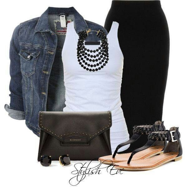 black-pencil-skirt-white-top-tank-necklace-black-shoe-sandals-black-bag-studs-blue-navy-jacket-jean-howtowear-fashion-style-spring-summer-outfit-lunch.jpg