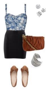 black-pencil-skirt-blue-med-top-bustier-tan-shoe-flats-cognac-bag-bracelet-studs-howtowear-fashion-style-outfit-spring-summer-weekend.jpg