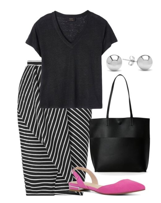 how-to-style-black-pencil-skirt-stripe-magenta-shoe-flats-black-tee-black-bag-tote-studs-spring-summer-fashion-work.jpg