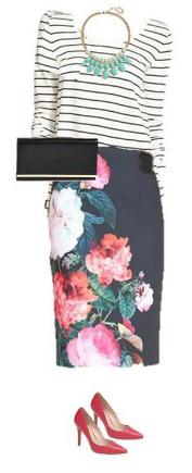 black-pencil-skirt-black-tee-stripe-bib-necklace-black-bag-clutch-red-shoe-pumps-floral-print-howtowear-fashion-style-outfit-spring-summer-dinner.jpg