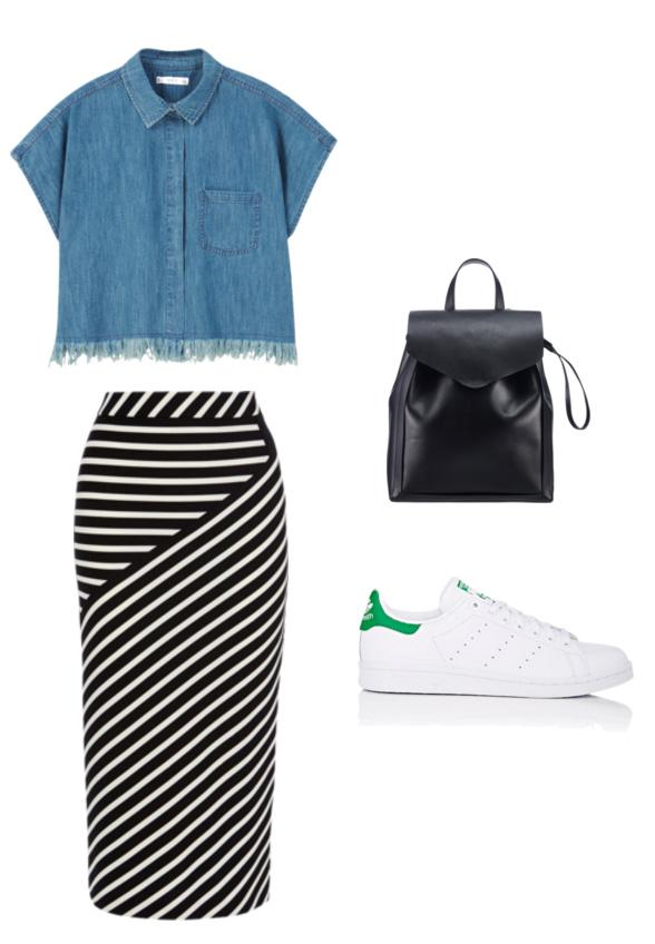black-pencil-skirt-stripe-blue-med-collared-shirt-white-shoe-sneakers-green-shoe-sneakers-black-bag-pack-spring-summer-work.jpg