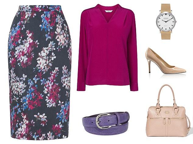 black-pencil-skirt-purple-royal-top-blouse-tan-bag-tan-shoe-pumps-watch-belt-print-fall-winter-work.jpg