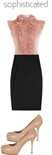 black-pencil-skirt-r-pink-light-top-blouse-ruffle-tan-shoe-pumps-howtowear-fashion-style-outfit-spring-summer-work.jpg