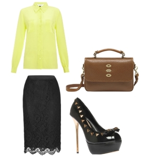 black-pencil-skirt-yellow-collared-shirt-brown-bag-howtowear-fashion-style-outfit-spring-summer-neon-black-shoe-pumps-lace-office-work.jpg