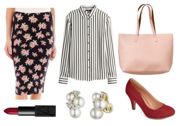 black-pencil-skirt-black-top-blouse-stripe-print-howtowear-fashion-style-outfit-spring-summer-floral-red-shoe-pumps-pearl-studs-pink-bag-tote-creative-work.jpg