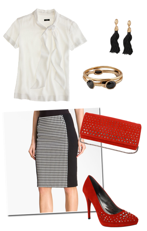 black-pencil-skirt-white-top-blouse-print-black-earrings-bracelet-red-bag-style-fashion-fall-winter-red-shoe-pumps-work.jpg