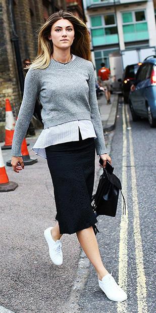 black-pencil-skirt-grayl-sweater-white-collared-shirt-blonde-black-bag-white-shoe-sneakers-fall-winter-weekend.jpg