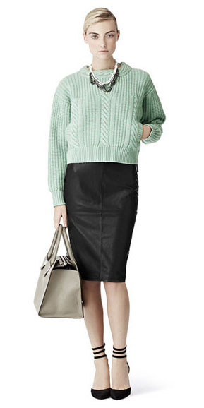 black-pencil-skirt-green-light-sweater-necklace-black-shoe-pumps-bun-fall-winter-blonde-work.jpg