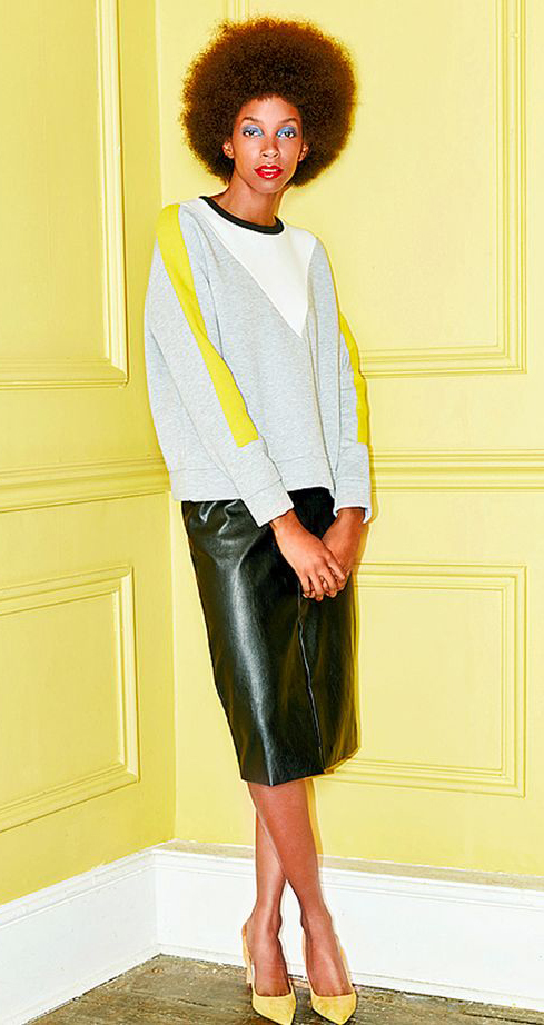 black-pencil-skirt-grayl-sweater-sweatshirt-yellow-shoe-pumps-howtowear-fashion-style-outfit-spring-summer-brun-work.jpg