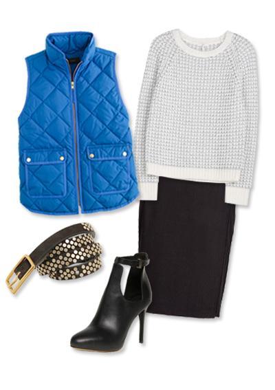 black-pencil-skirt-white-sweater-blue-med-vest-puffer-cobalt-howtowear-fashion-style-outfit-fall-winter-black-shoe-booties-skinny-belt-office-work.jpg