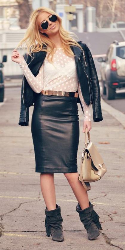 black-pencil-skirt-leather-white-top-blouse-sheer-white-bralette-black-jacket-moto-tan-bag-black-shoe-booties-blonde-sun-fall-winter-dinner.jpg