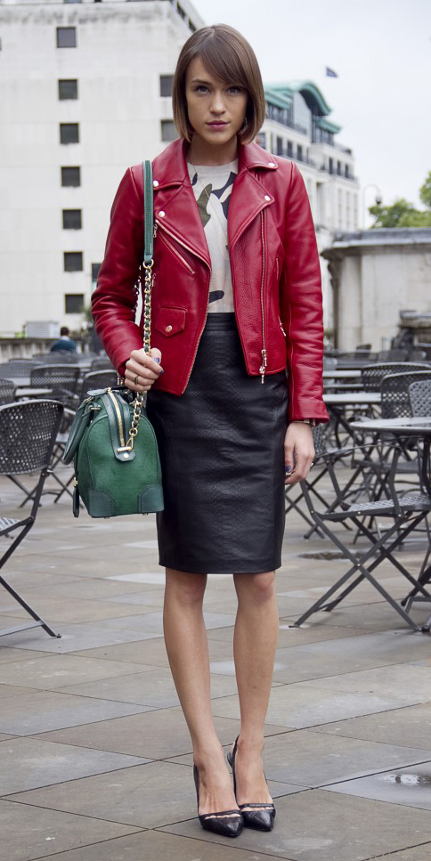 black-pencil-skirt-leather-white-graphic-tee-green-bag-black-shoe-pumps-bob-red-jacket-moto-fall-winter-hairr-lunch.jpg