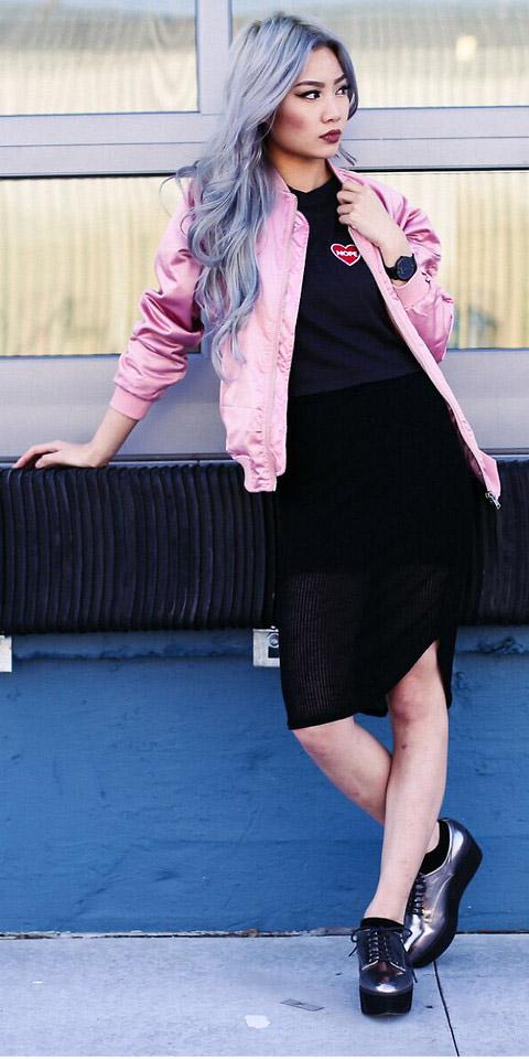 black-pencil-skirt-black-tee-gray-shoe-brogues-pink-light-jacket-bomber-fall-winter-grayhair-lunch.jpg