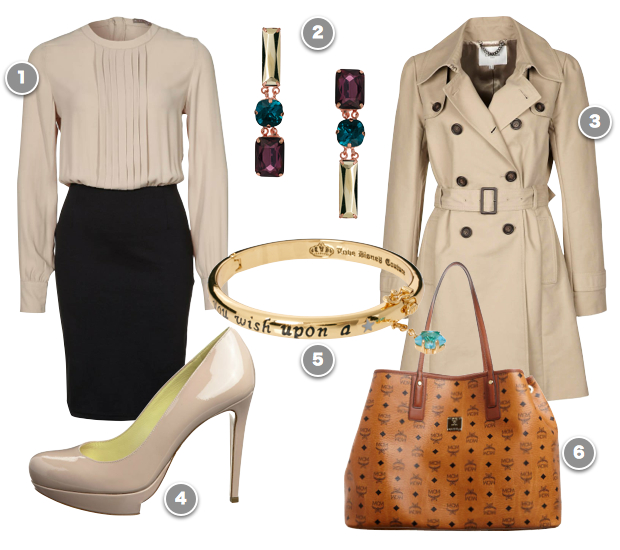 black-pencil-skirt-white-top-blouse-cognac-bag-tote-spring-summer-khaki-tan-shoe-pumps-elegant-purple-earrings-chic-tan-jacket-coat-trench-work.jpg