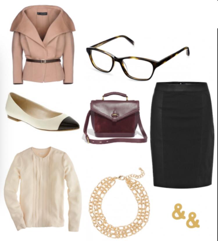 black-pencil-skirt-white-top-blouse-necklace-white-shoe-flats-burgundy-bag-studs-skinny-belt-howtowear-style-fashion-fall-winter-structured-pink-light-jacket-belt-work.jpg