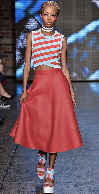red-midi-skirt-red-top-stripe-crop-choker-bun-blue-shoe-sandalw-wear-outfit-spring-summer-lunch.jpg