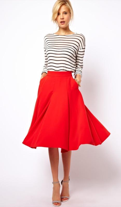 red-midi-skirt-black-tee-stripe-gray-shoe-sandalh-wear-outfit-spring-summer-bun-blonde-dinner.jpg
