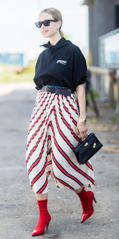 red-midi-skirt-stripe-black-graphic-tee-black-scarf-neck-black-bag-belt-sun-pony-red-shoe-booties-fall-winter-blonde-lunch.jpg