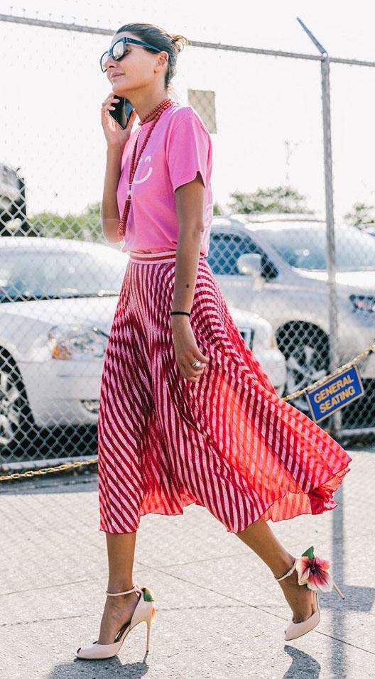 red-midi-skirt-stripe-bun-necklace-tonal-pink-magenta-graphic-tee-spring-summer-hairr-lunch.jpg