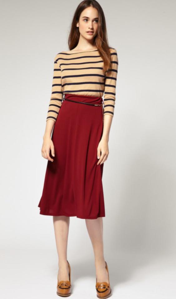 red-midi-skirt-o-tan-tee-stripe-wear-outfit-fall-winter-cognac-shoe-pumps-hairr-work.jpg
