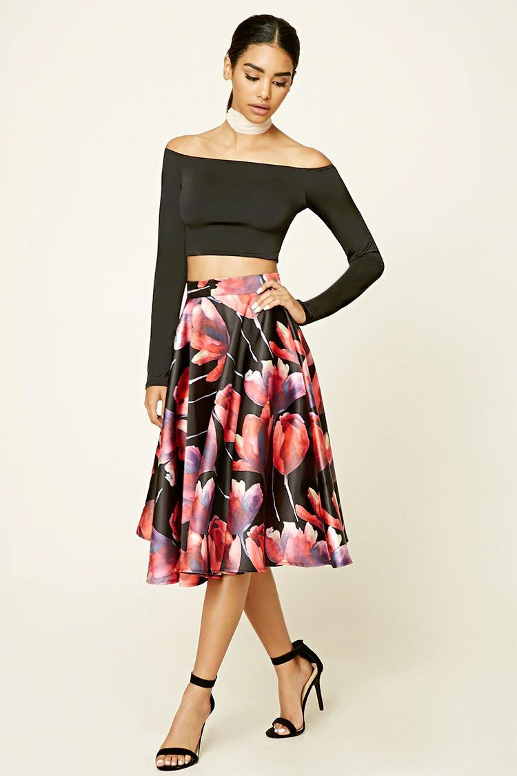 red-midi-skirt-black-top-crop-offshoulder-black-shoe-sandalh-pony-wear-outfit-fall-winter-print-floral-choker-brun-dinner.jpg
