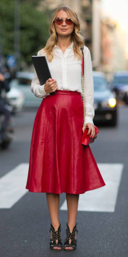 red-midi-skirt-white-top-blouse-wear-outfit-fall-winter-black-shoe-sandalh-fashion-red-bag-sun-leather-blonde-work.jpg