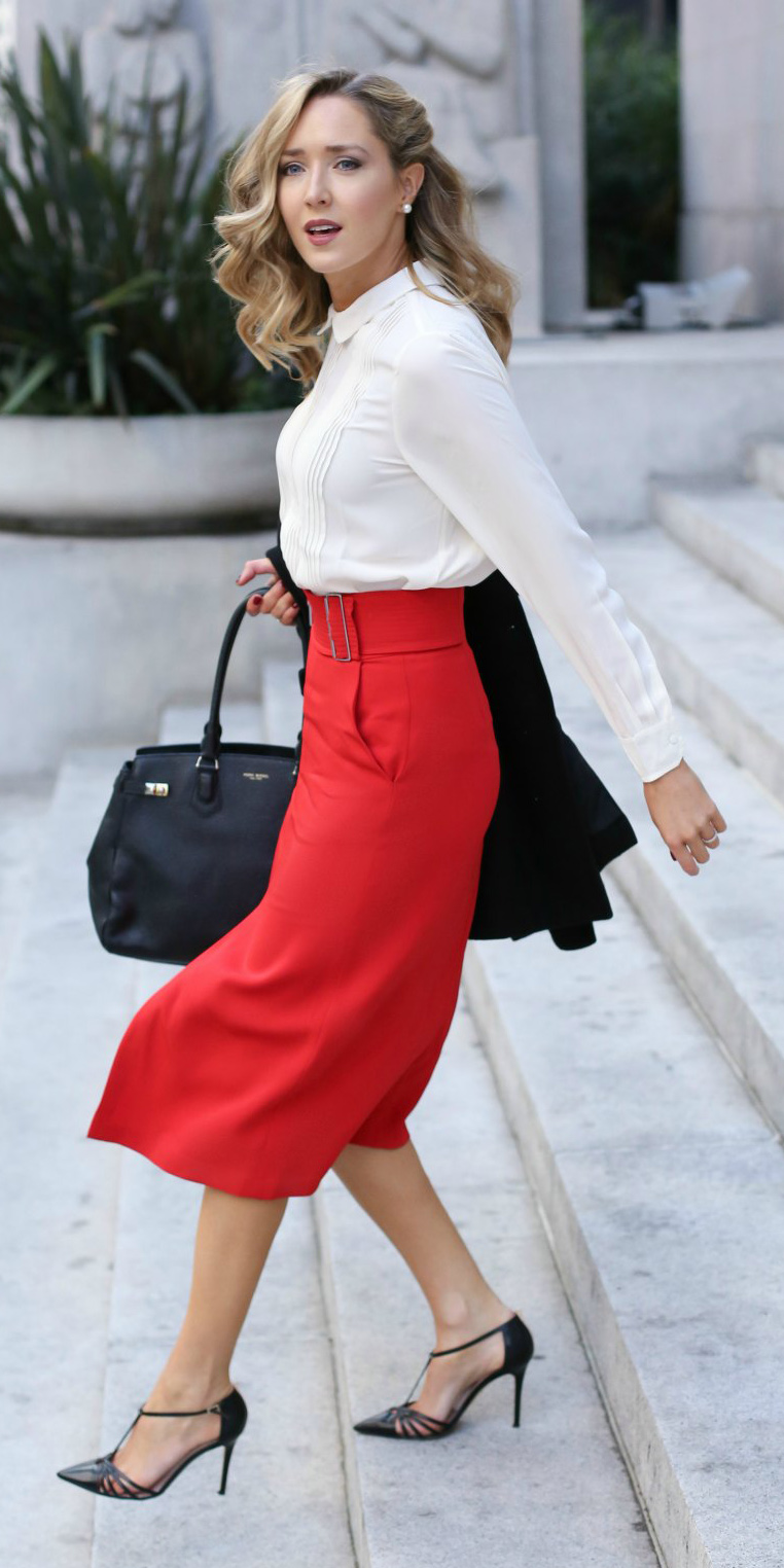 red-midi-skirt-white-top-blouse-shirt-wear-outfit-fall-winter-black-shoe-pumps-pearl-studs-black-bag-office-blonde-work.jpg