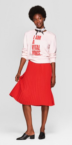 red-midi-skirt-pink-light-sweater-sweatshirt-graphic-white-scarf-neck-brun-black-shoe-pumps-fall-winter-lunch.jpg