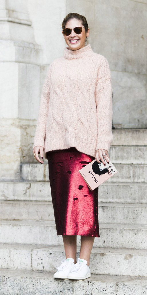 red-midi-skirt-pink-light-sweater-sun-bun-white-shoe-sneakers-outfit-thanksgiving-fall-winter-hairr-dinner.jpg