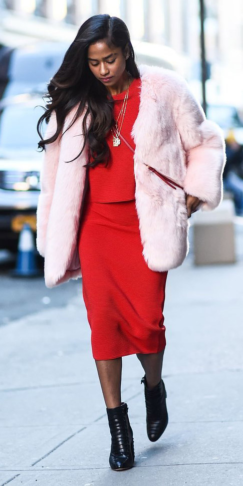 red-midi-skirt-red-sweater-matchset-black-shoe-booties-valentinesday-pink-light-jacket-coat-fur-fuzz-fall-winter-brun-dinner.jpg