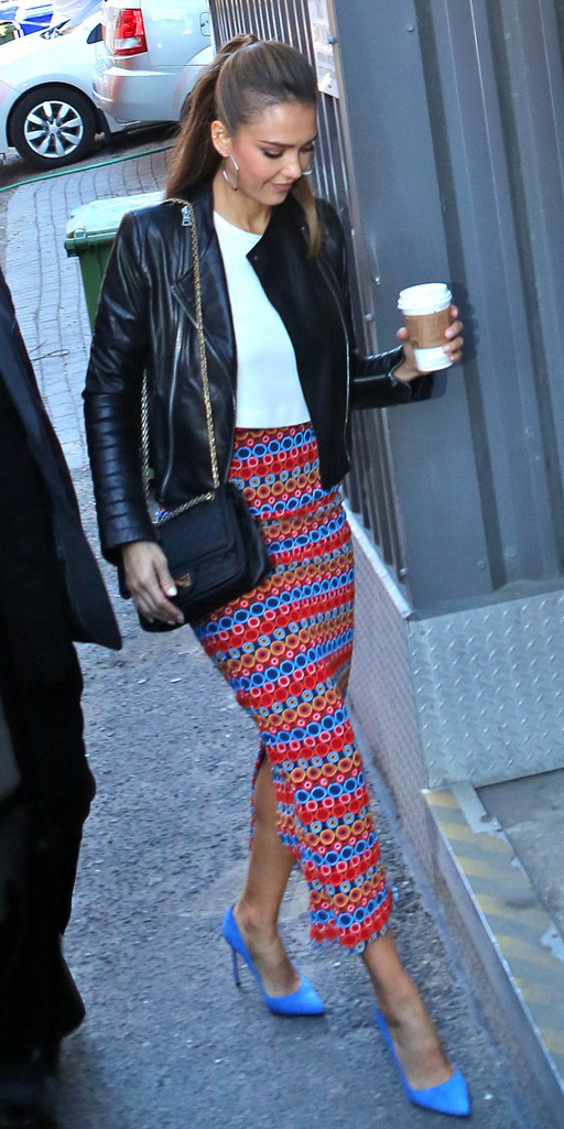 red-midi-skirt-white-top-crop-black-jacket-moto-black-bag-hoops-pony-blue-shoe-pumps-print-jessicaalba-leather-howtowear-fashion-style-outfit-hairr-fall-winter-lunch.jpg