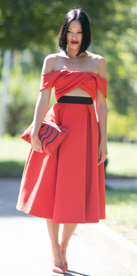 red-midi-skirt-red-bag-clutch-red-shoe-pumps-mono-red-top-offshoulder-spring-summer-brun-dinner.jpg