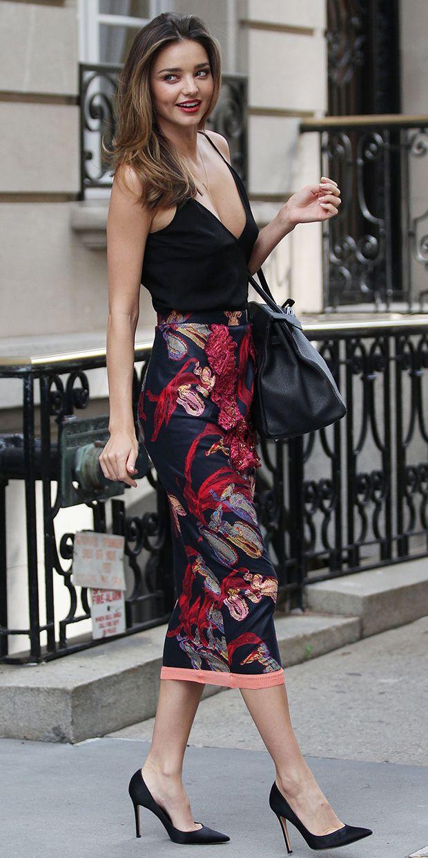 burgundy-midi-skirt-black-cami-print-black-bag-mirandakerr-wear-outfit-spring-summer-black-shoe-pumps-celebritystreetstyle-classic-hairr-dinner.jpg
