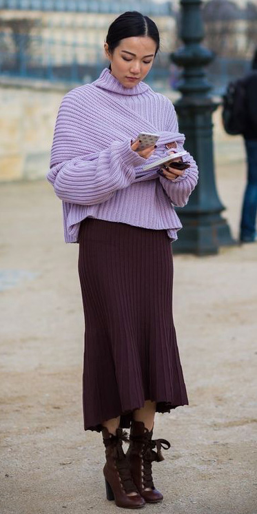 burgundy-midi-skirt-burgundy-shoe-booties-brun-pony-purple-light-sweater-fall-winter-dinner.jpg
