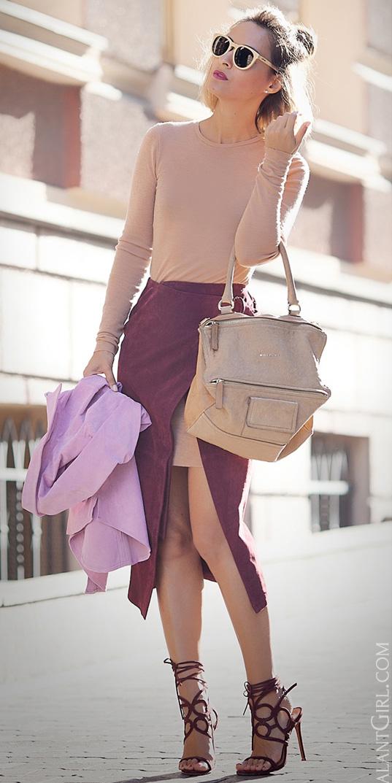 burgundy-midi-skirt-layer-wrap-tan-dress-tshirt-tan-bag-hairr-sun-burgundy-shoe-sandalh-spring-summer-lunch.jpg