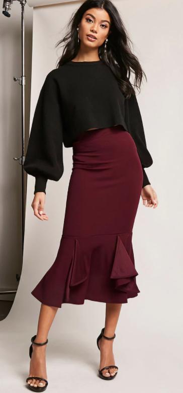 burgundy-midi-skirt-black-sweater-puffsleeve-earrings-black-shoe-sandalh-fall-winter-brun-dinner.jpg