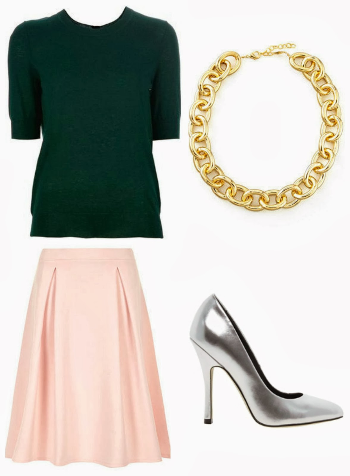 pink-light-midi-skirt-green-dark-sweater-gray-shoe-pumps-metallic-silver-chain-necklace-fall-winter-dinner.jpg