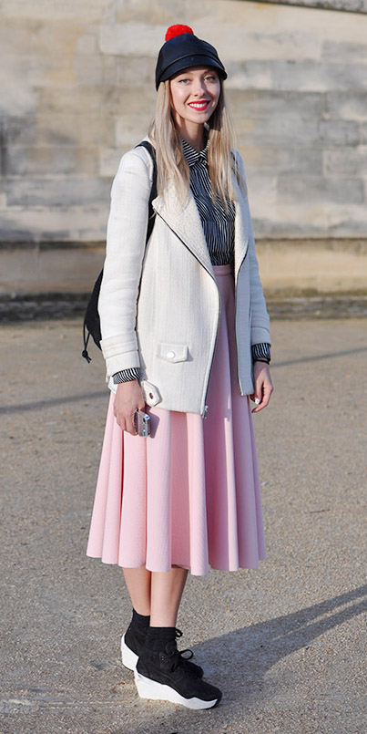 pink-light-midi-skirt-paris-white-jacket-moto-black-collared-shirt-stripe-hat-cap-socks-black-shoe-sneakers-fall-winter-blonde-weekend.jpg