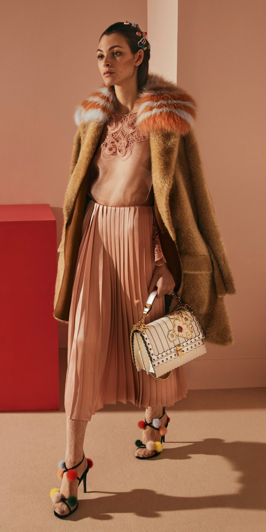 pink-light-midi-skirt-pleated-white-bag-white-tights-black-shoe-sandalh-pink-light-top-tan-jacket-coat-fur-fuzz-fall-winter-hairr-dinner.jpg