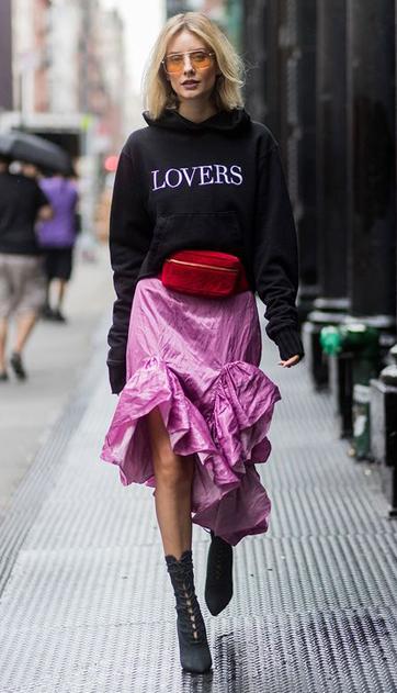 pink-magenta-midi-skirt-red-bag-fannypack-blonde-sun-lob-black-sweater-sweatshirt-hoodie-black-shoe-booties-fall-winter-lunch.jpg