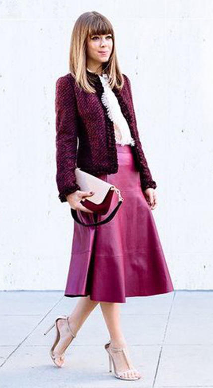 pink-magenta-midi-skirt-burgundy-jacket-lady-blonde-tan-shoe-sandalh-white-top-blouse-fall-winter-work-tweed.jpg