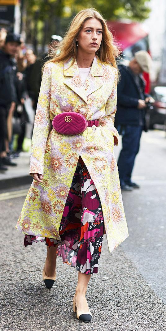 pink-magenta-midi-skirt-print-mix-yellow-jacket-coat-blonde-pink-bag-fannypack-tan-shoe-pumps-spring-summer-lunch.jpg