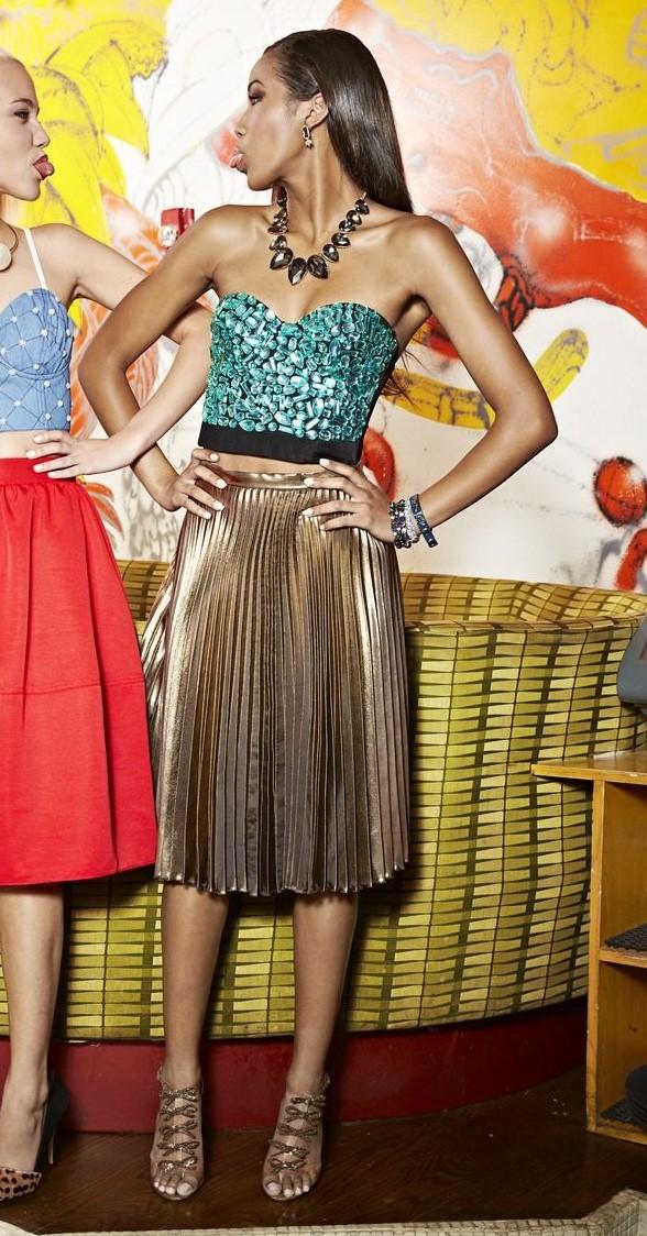 b0c84d0f1 tan-midi-skirt-pleated-gold-green-emerald-cami-