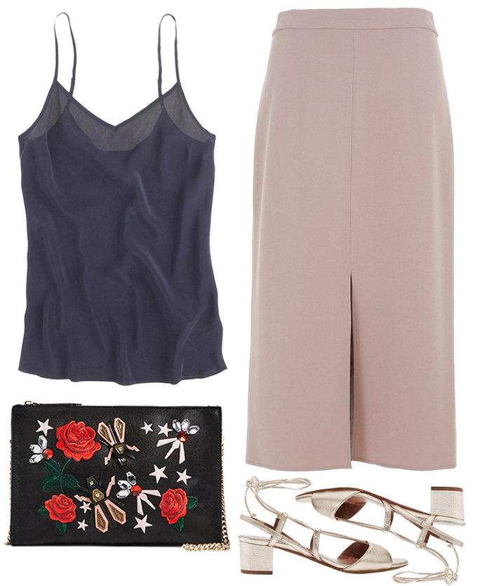 tan-midi-skirt-black-bag-clutch-embroidered-tan-shoe-sandalh-gold-black-cami-spring-summer-dinner.jpg