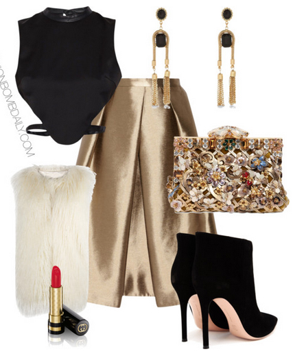 o-tan-midi-skirt-black-top-crop-white-vest-fur-black-shoe-booties-tan-bag-clutch-metallic-gold-earrings-howtowear-fashion-style-outfit-fall-winter-holiday-dinner.jpg