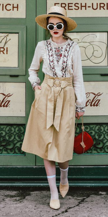 tan-midi-skirt-white-top-blouse-peasant-hat-straw-sun-hairr-red-bag-socks-tan-shoe-pumps-spring-summer-lunch.jpg