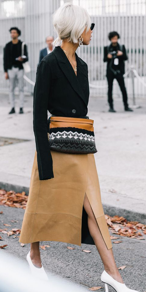 tan-midi-skirt-cognac-bag-fannypack-black-jacket-blazer-white-shoe-pumps-earrings-blonde-pony-fall-winter-work.jpg